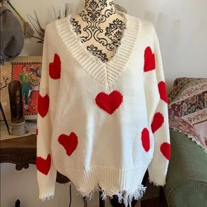 Freed V Neck Sweater with Heart Print
